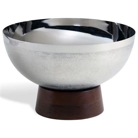 guinevere nickel metal wood base decorative bowl kathy