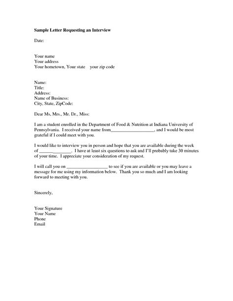 interview request letter sle format of a letter you can use to request an interview with a