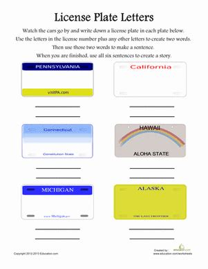 Permission Letter To Keep License Plates License Plate Letters Worksheet Education