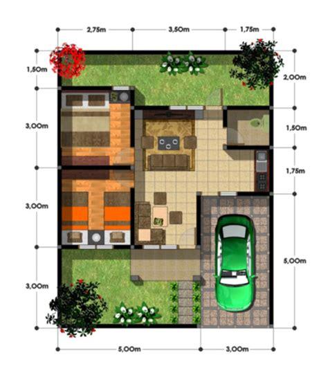 layout rumah lebar 10 meter desain rumah 2 kamar tidur type 45