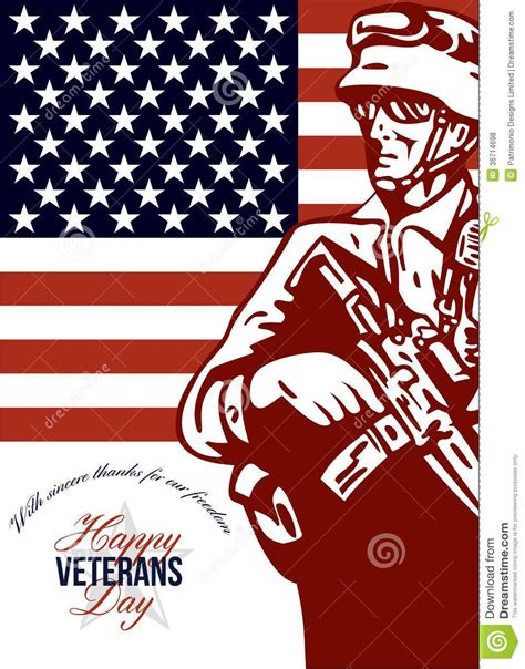 happy veterans day to army soldier free greeting card template veterans day modern american soldier card stock