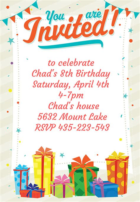 Birthday Card Invitations 10 Party Invitation Templates Freecreatives