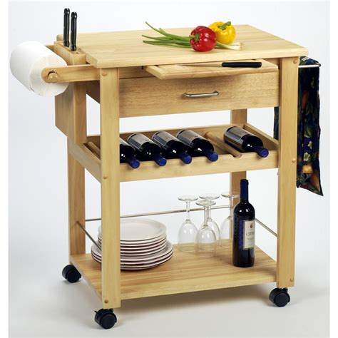 winsome beechwood kitchen cart with wine rack 151040
