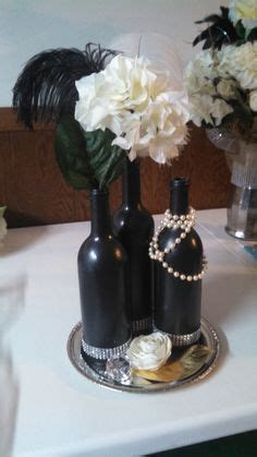black chalkboard paint and silver glitter centerpieces