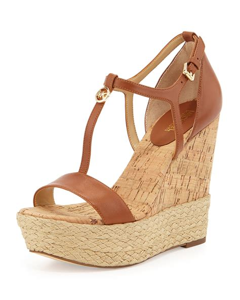 michael michael kors kerri cork wedge sandal in brown lyst
