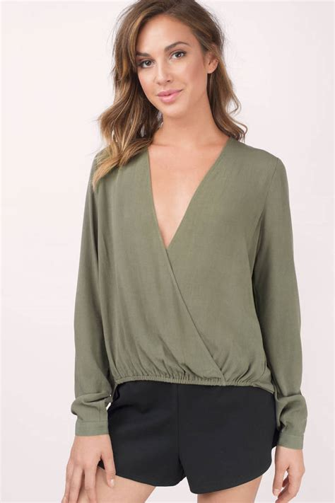 Oliv Blouse by Olive Blouse Surplice Blouse Olive Blouse Olive
