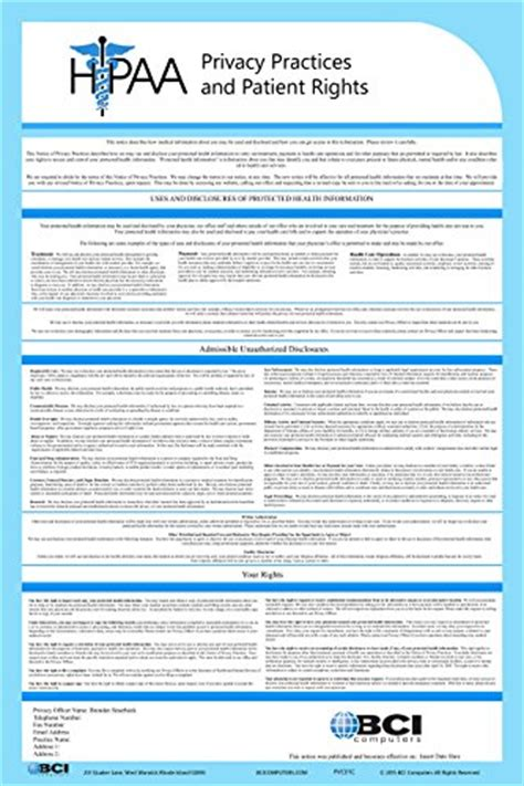 2017 Hipaa Notice Of Privacy Policy Poster Customized For Your Company Business Industrial Hipaa Notice Of Privacy Practices 2017 Template