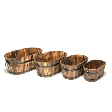 Home Depot Wooden Planters by Devault Wooden Oval Planter Set Of 4 Devbp214 The Home