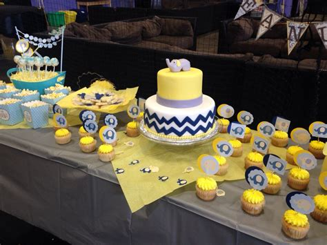 Blue And Yellow Baby Shower by Elephant Navy Blue Yellow And Gray Baby Shower By Yours