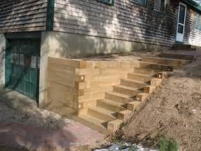 Retaining Wall Stairs Design Ideas For Landscape Timbers Timber Retaining Wall Stairs Decks Sunrooms Pergolas