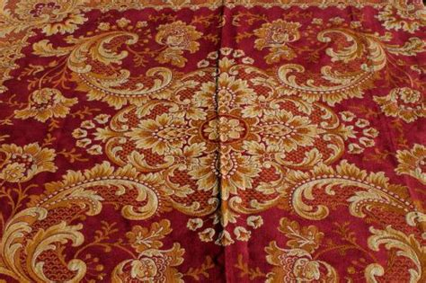 antique harvest table cover shawl rich red gold cotton