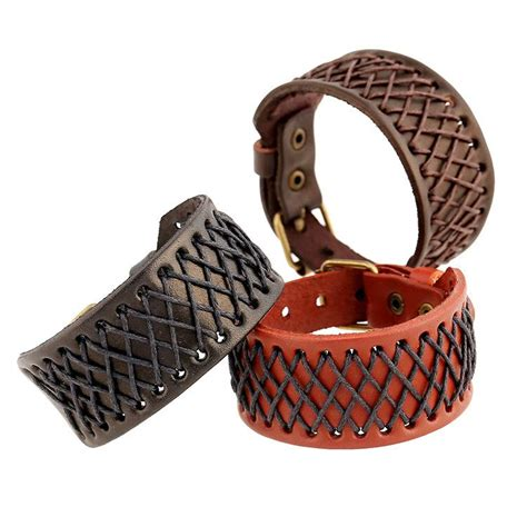 2016 New Leather Jewelry Bracelets Fashion Handmade Gridding Belt Buckle Design Leather