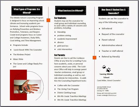 counseling brochure template handouts a school counselor s best friend the middle