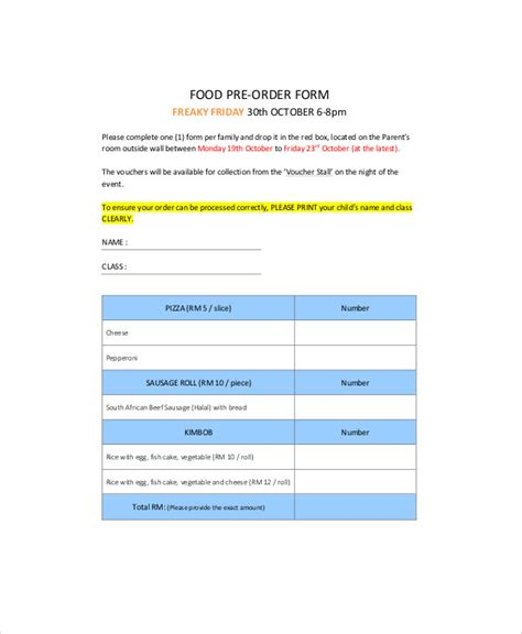 food pre order form template 9 sle food order forms sle templates