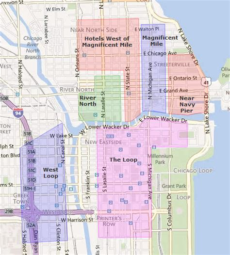 chicago hotel map downtown chicago quotes quotesgram