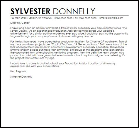 cover letter production company production assistant cover letter sle livecareer