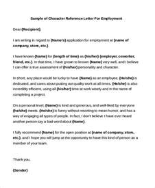 Character Reference Letter Template Sle Sle Employment Letter Letters Of Recommendation For A