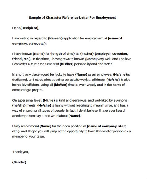 Character Reference Letter By Employer Sle Character Reference Letters 8 Free Documents In Pdf Doc
