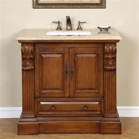 38 Inch Bathroom Vanity 38 Inch Traditional Single Bathroom Vanity With Travertine And 2 Doors 1 Drawer Uvsr090738