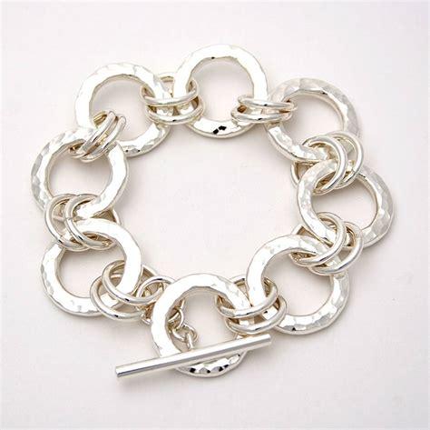 chunky silver hammered ring bracelet by tlk