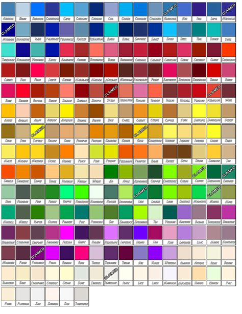 list of colours colour claim list by fuyuka shirai on deviantart