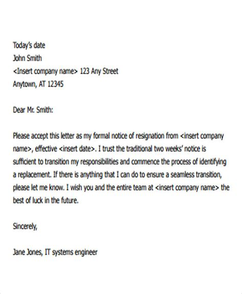 formal resignation letter format notice period docoments