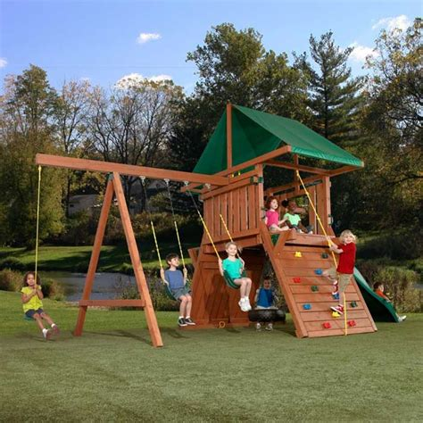 wooden swing set with slide how to make an outdoor play sets for your kids tips