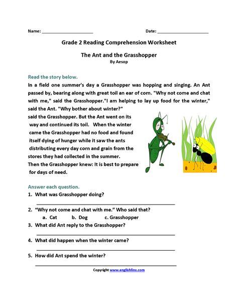 reading comprehension test grade 2 reading comprehension 2nd grade worksheet worksheets for