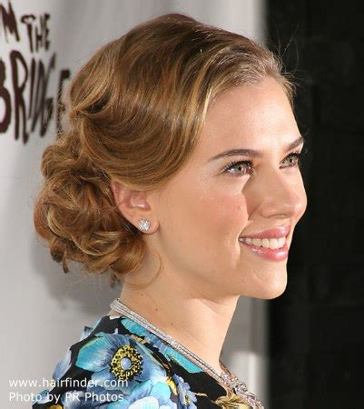 Johansson Side by Johansson Wearing Hair In An Updo With Curls