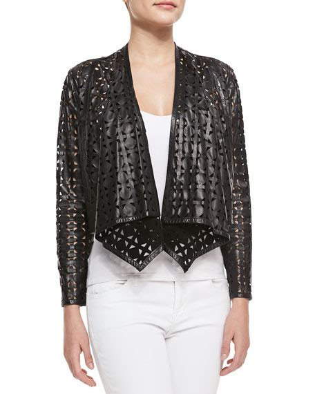 Circle Leather Jacket milly circle perforated cropped leather jacket