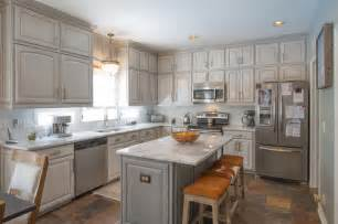 Gray Painted Kitchen Cabinets Transitional Kitchen