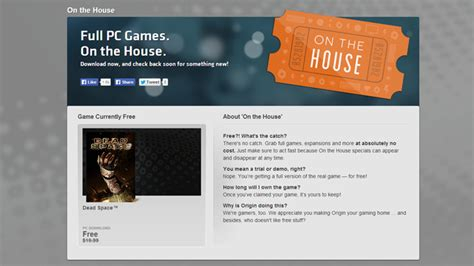 Origin Announces On The House Free Games Full Cleared