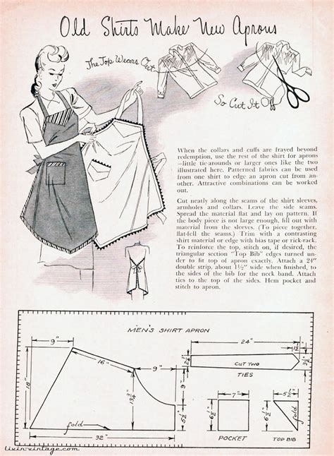 apron pattern made from man s shirt livin vintage free pattern friday 1940s apron how to