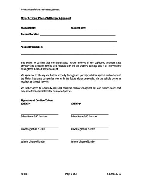 Car Agreement Letter Between Two Settlement And Release Sle Templates Sles And Templates