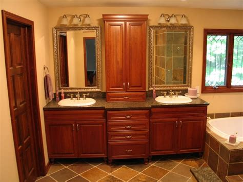 double vanity  upper linen cabinet   middle