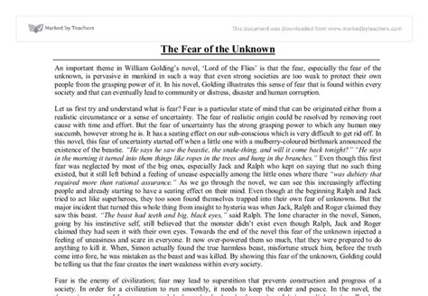 Lord Of The Flies Essay by Fear Of The Unknown Lord Of The Flies Gcse Marked By Teachers