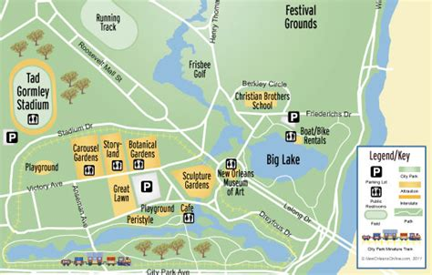 new orleans city map city park family attractions