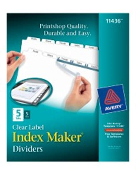 Index Maker Clear Labels Dividers With White Tabs 11436 5 Tab Sets Avery 5 Tab Index Template 11436