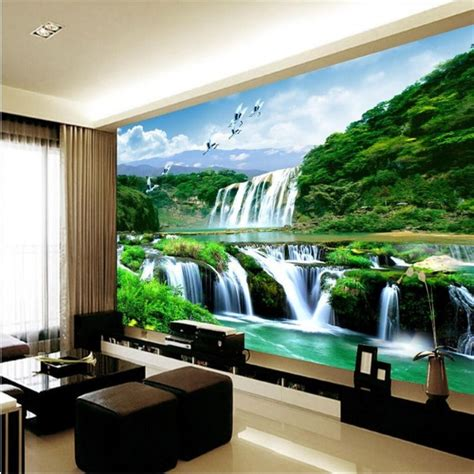 bedroom waterfalls 3d wallpaper mural waterfall nature bedroom living room tv