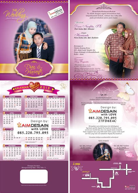 desain kalender cantik contoh undangan pernikahan unik pigura elegan