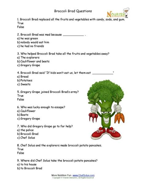 hydration quiz questions broccoli brad choice worksheet for elementary