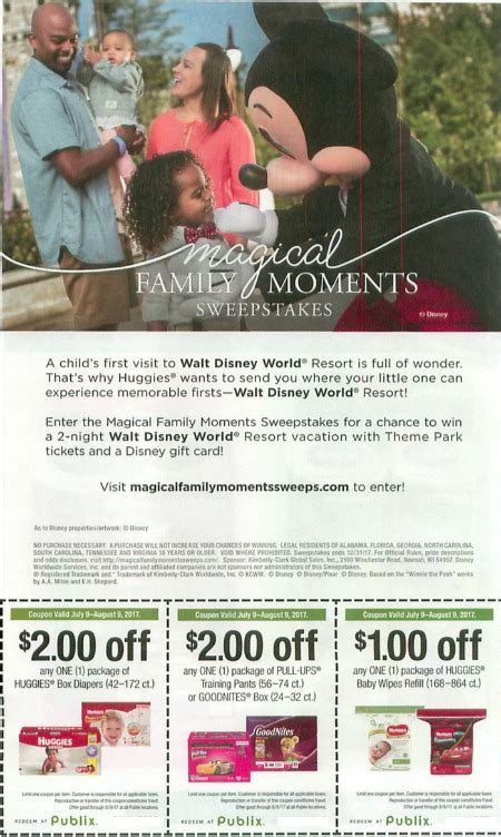 New Sweepstakes To Win A Disney Vacation - new publix coupons for savings on huggies a new sweepstakes win a disney vacation