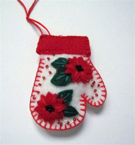 felt mitten ornament red and white christmas ornament