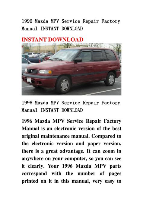 service manual how does cars work 1996 mazda millenia spare parts catalogs mazda millenia service manual 1996 mazda mpv dash repair mazda mpv 1996 1989 1998 service repair manual