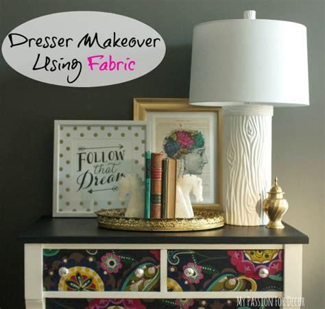 decoupage home decor dresser makeover using fabric and mod podge hometalk