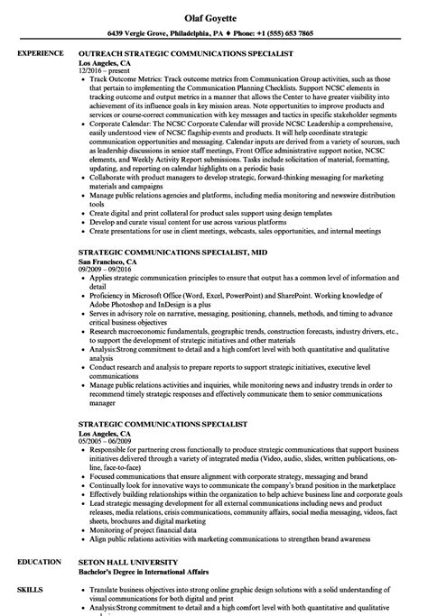 Communications Specialist Resume by Strategic Communications Specialist Resume Sles