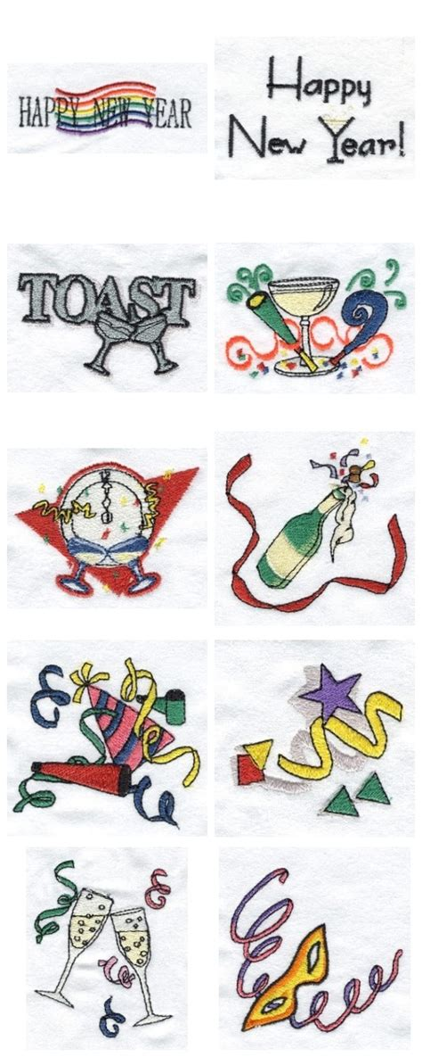 new year embroidery design embroidery machine designs new years set
