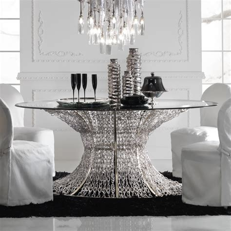 luxury glass dining table and chairs oval silver leaf smoked glass dining table