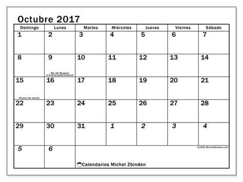 Calendario Lunar Octubre 2017 Usa Calendario Octubre 2017 Para Imprimir Quot D 237 As Feriados