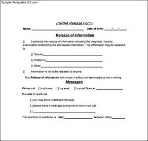 hipaa compliant release of information template hipaa release form sle templates